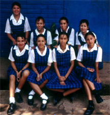 Salvadoran schholarship students with uniforms