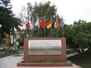 Seven Flags on monument in center of Friendship Village